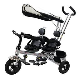 New 4 In 1 Twins Kids Baby Stroller Tricycle Safety Double R