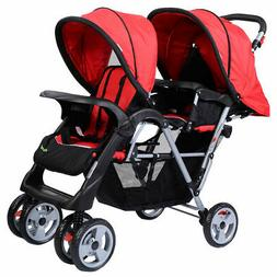 3 Color Foldable Twin Baby Double Stroller Adjustable Backre