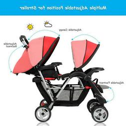 3 Color Foldable Twin Baby Double Stroller BB4476 WC