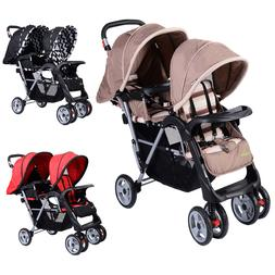 3 Colors Foldable Twin Baby Double Stroller Kids Jogger Trav