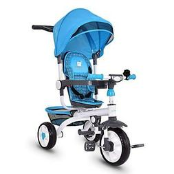 4 in 1 Kids Tricycle Steer Stroller Toy Bike w/Canopy, Safet