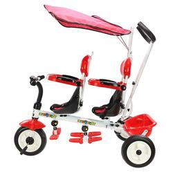 4 in 1 Twins Kids Trike Baby Toddler Tricycle Safety Double