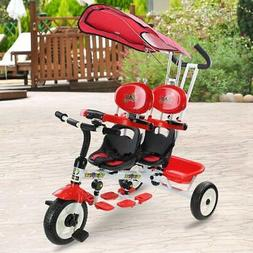 Costzon 4 in 1 Twins Kids Trike Baby Toddler Tricycle Safety