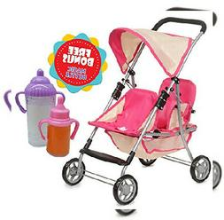 Exquisite Buggy, My First Doll Twin Stroller Soft Pink & Off