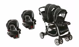 Baby Double Stroller Sit N Stand with Two Car Seat Travel Sy