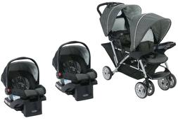 Baby Double Stroller with 2 Matching Car Seats Infant Combo