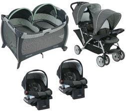 baby double stroller with 2 matching car