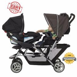 baby infant lightweight double stroller foldable buggy