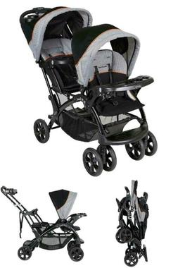 Baby Sit N Stand Double Stroller Removable Rear Seat Restrai