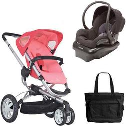 Quinny Buzz 3 Travel System in Pink Black with Diaper Bag