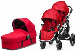 Baby Jogger City Select Twin Double Stroller Ruby with Secon