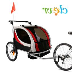 Clevr Foldable Double Bicycle Trailer Baby Bike Jogger Red w