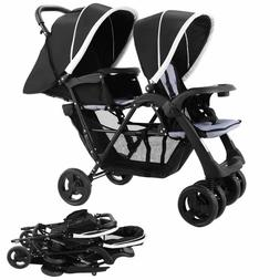 Costzon Foldable Double Stroller Baby Infant Pushchair Trave