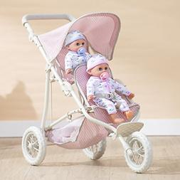"Olivia's Little World 16"" Baby Doll Twin Stroller 