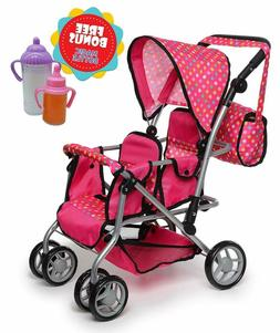 Double Baby Doll Stroller Toy Play Set For Girl Kid Pretend