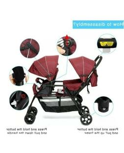 Double Baby Stroller Twin Tandem Infant City Car Seat Carrie