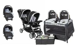 Double Baby Stroller with Baby Trend Car Seat Twins Playard