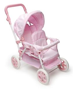 Double Doll Stroller Baby Dolls Carriage Girls Toy Play Pret