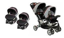 Baby Trend Double Sit N' Stand Stroller with 2 Car Seats Tra