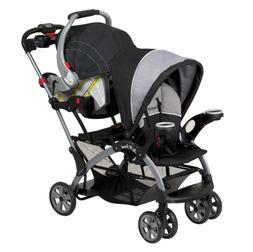 DOUBLE STROLLER Sit N Stand 2 Seats Foldable Cup Holder Cano