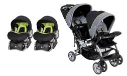 Baby Trend Double Stroller Sit N Stand with Two Car Seats /