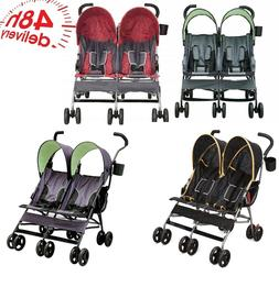 Double Stroller Twins Side By Side Boys Girls Lightweight Fr