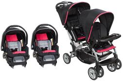 Baby Trend Double Stroller with 2 Car Seats Sit N Stand Opti