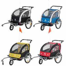 Elite Aosom Double Baby Bike Trailer Stroller Child Bicycle