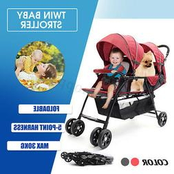 Foldable Baby Twin Tandem Double Stroller Travel Infant with