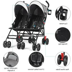 Foldable Twin Baby Toddler Double Stroller Ultralight Umbrel