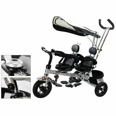 4 In 1 Twins Kids Stroller Tricycle Safety Double Rotatable Seat w/ Basket