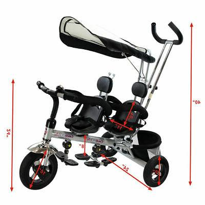 4 In 1 Kids Baby Stroller Safety Double Seat w/