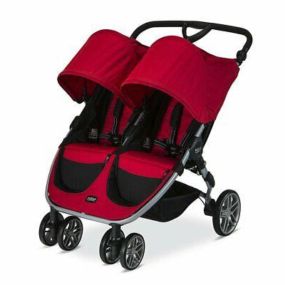 2017 b agile double stroller red