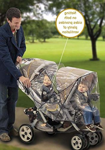Jeep Double Rain Cover, Tandem Cover, Baby Double Stroller Accessories, Stroller Size, Waterproof,