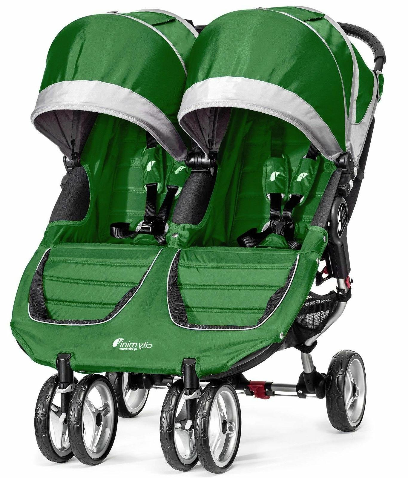 Baby Jogger City Mini Double Twin Stroller Evergreen / Gray