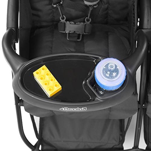 Kolcraft Cloud Plus Double Stroller -5-Point for Protection, Reclining Storage Basket, Tray, Red/Black
