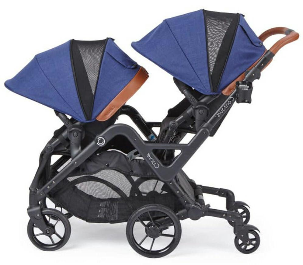 Contours Curve Seat Twin Double Baby Stroller Indigo Blue
