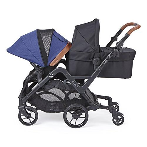 Contours Curve Double Stroller Infants, or Turning Options, Canopies, Indigo Blue