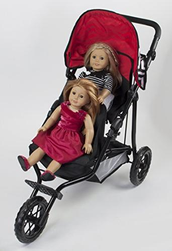 Deluxe Doll Twin Stroller Adjustable High