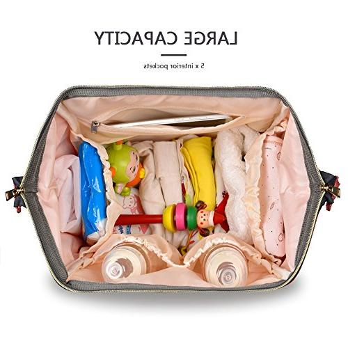 HaloVa Waterproof Travel Backpack Bags for Baby Care, Durable, Linen