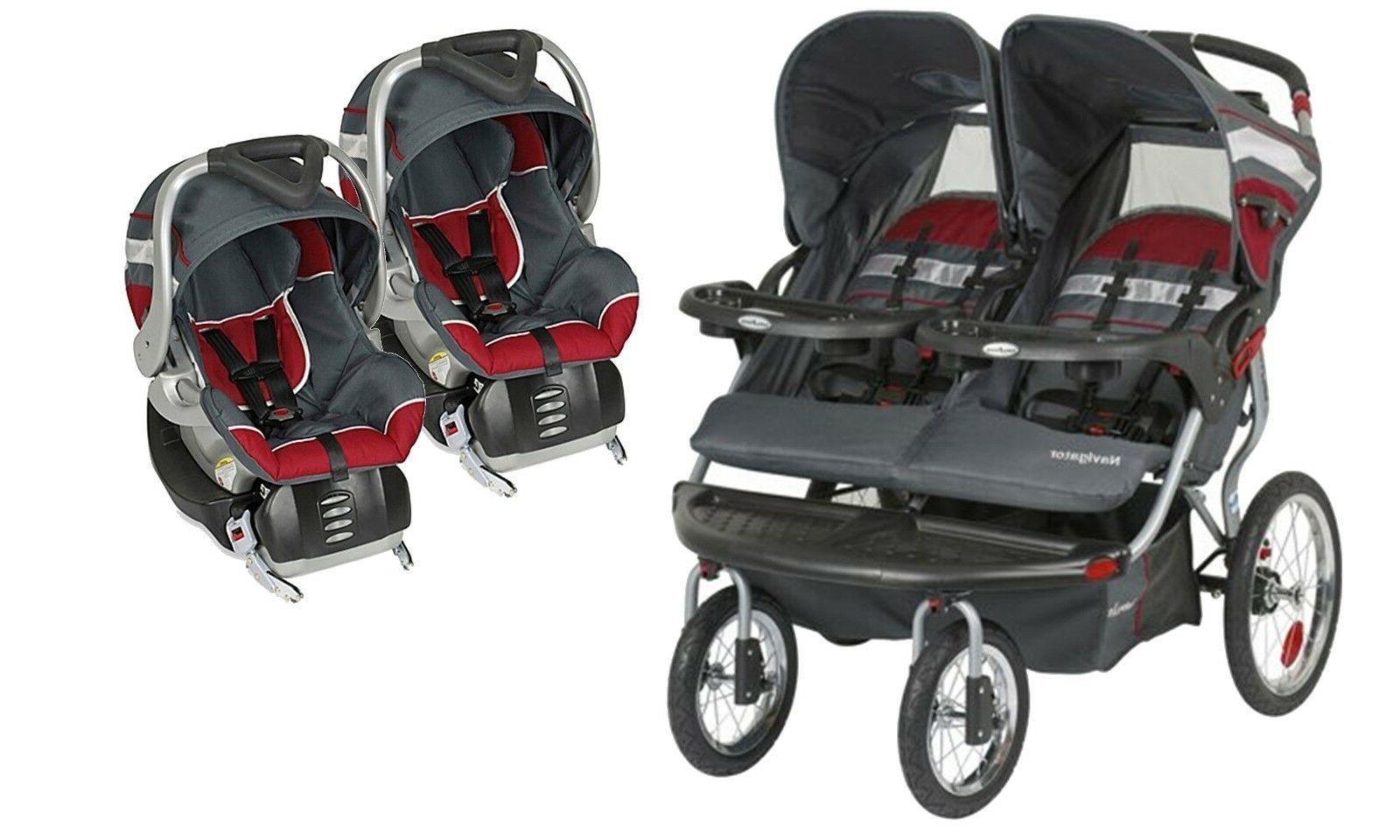 double baby stroller and 2 infant flex