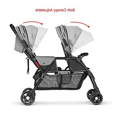 Besrey Double Stroller for Baby Toddler-Tandem Connect Gray