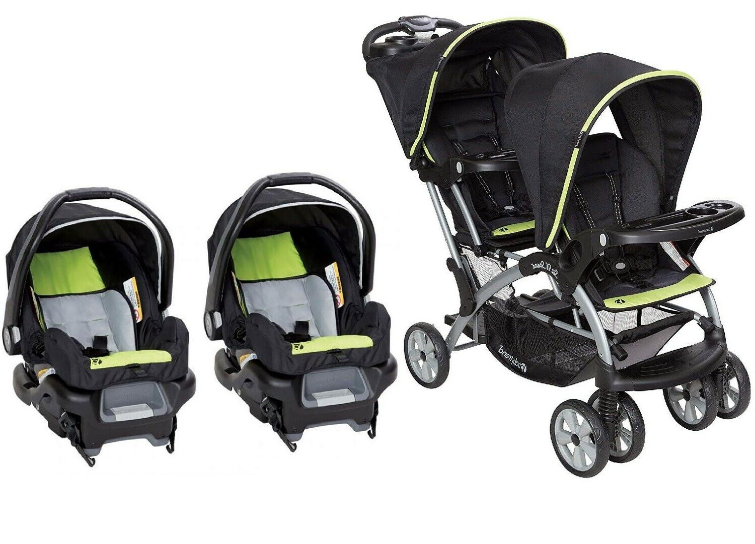 double stroller with 2 car seats travel