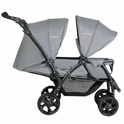 Foldable Double Baby Stroller Stand On Front & Back Seats Pu