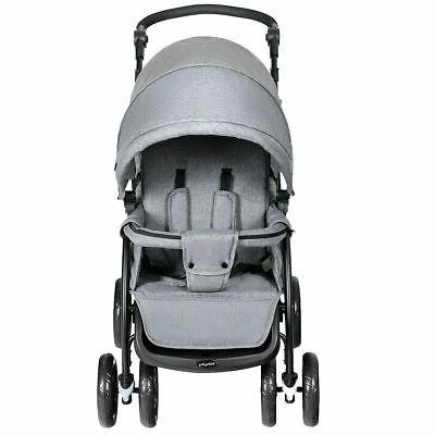 Foldable Double Lightweight Front Back Seats Pushchair Gray