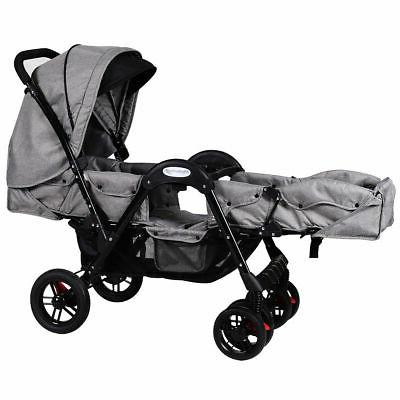 Foldable Face Twin Stroller Gray