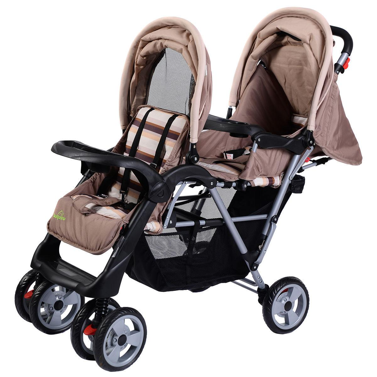 Foldable Twin Double Stroller Kids Jogger Infant Pushchair