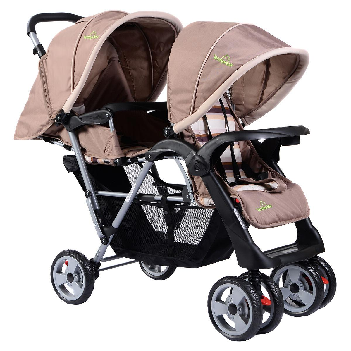 Foldable Baby Double Stroller Kids Jogger Infant Pushchair Gray