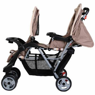 Foldable Twin Stroller Infant Pushchair Gray