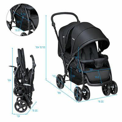 Foldable Twin Baby Stroller Lightweight Infant